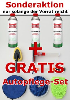 AKTION 3 X Ballistol 500 ml + Gratis Autopflege-Set
