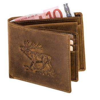 Antique leather wallet stag
