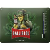 Ballistol tin sign with thermometer