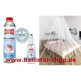 Set of double-bed-mosquito-net + 500 ml tropicalized insect repellent + 100 ml pump to refill.