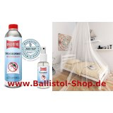 Set of single-bed-mosquito-net + 500 ml tropicalized insect repellent + 100 ml pump to refill.